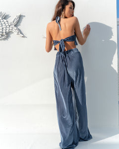 BLUE STRIPE VELOUR TROUSER CO ORD SET