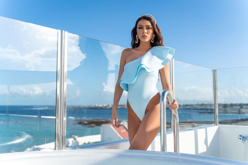 PREMIUM PALE BLUE ASSYMETRICAL RUFFLE SWIMSUIT