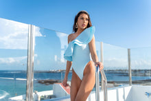 Load image into Gallery viewer, PREMIUM PALE BLUE ASSYMETRICAL RUFFLE SWIMSUIT