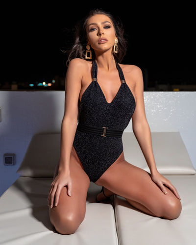 BLACK SPARKLE PLUNGE HALTER NECK BELTED SWIMSUIT - with sparkle peplum skirt