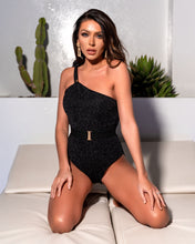 Load image into Gallery viewer, BLACK SPARKLE ASSYMETRIC BELTED SWIMSUIT - with sparkle peplum skirt