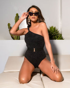 BLACK SPARKLE ASSYMETRIC BELTED SWIMSUIT - with sparkle peplum skirt