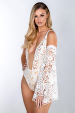 Load image into Gallery viewer, FLORENCE GUIPURE SEQUIN SCALLOP LACE SLEEVE SWIMSUIT