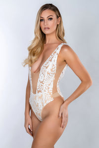 FLORENCE GUIPURE SEQUIN SCALLOP LACE SLEEVE SWIMSUIT