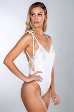 Load image into Gallery viewer, EVELYN WHITE ITALIAN LACE APPLIQUE BUTTON BACK SWIMSUIT