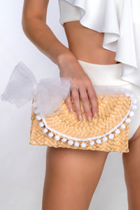 ROSITA STRAW KNITTED ENVELOPE CLUTCH BAG