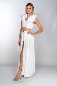 HEIDI WHITE SILK SATIN BUCKLE FRONT MAXI SKIRT