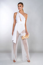 Load image into Gallery viewer, PENNY WHITE WIDE LEG FISHNET TROUSERS
