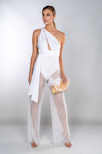 PENNY WHITE WIDE LEG FISHNET TROUSERS
