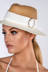 NERE STRAW WIDE BRIM FOLDABLE RIBBON PANAMA HAT