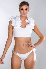 Load image into Gallery viewer, ROSE WHITE RUFFLE SHOULDER BELTED BIKINI