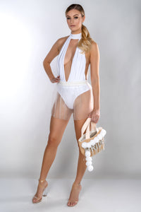 PERLA BACK PLUNGE SWIMSUIT WITH PEARL MESH SKIRT
