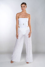 Load image into Gallery viewer, KRYSTAL CRYSTAL WHITE WIDE LEG PLEATED TROUSERS