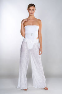 KRYSTAL CRYSTAL WHITE WIDE LEG PLEATED TROUSERS