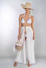 Load image into Gallery viewer, HEIDI WHITE SILK SATIN BUCKLE FRONT MAXI SKIRT