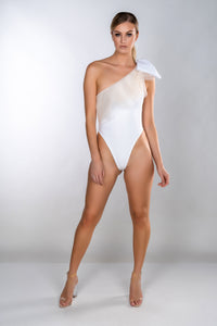 MIA MESH ONE SHOULDER BOW SWIMSUIT