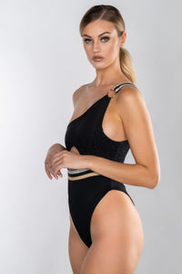 LOLITTA BLACK ONE SHOULDER PANEL ELASTIC SWIMSUIT
