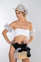 Load image into Gallery viewer, MAYA WHITE RIB & BLACK SPARKLE DOTTY BANDEAU POMPOM BIKINI