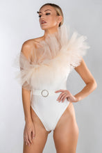 Load image into Gallery viewer, PALOMA LUXE RIB TULLE RUFFLE ONE SHOULDER BELTED SWIMSUIT