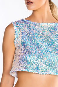 ISLA MERMAID SEQUIN CROSS OVER BACK TOP
