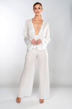 Load image into Gallery viewer, ISABELLA SHEER STRIPE TIE FRONT WIDE LEG TROUSER SET