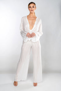 ISABELLA SHEER STRIPE TIE FRONT WIDE LEG TROUSER SET