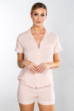 Load image into Gallery viewer, LEYA PINK / WHITE PIPING CHEESE CLOTH SHORT PIPED PJ SET - personalisation available