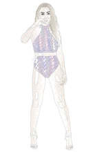 Load image into Gallery viewer, SAMPLES - WHITE HOLOGRAPHIC ZIGZAG HIGH WAIST 3PC BIKINI
