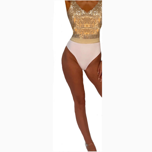 WHITE RIBBED & GOLD LUREX SCOOP NECK BELTED SWIMSUIT