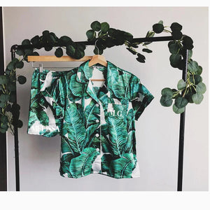 LULA PALM LEAF PRINT SHORT PIPED PJ SET - personalisation available