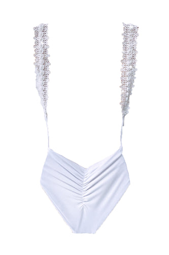 WHITE PEARL STRAP BACKLESS RUCHE BUM SWIMSUIT