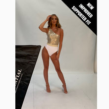Load image into Gallery viewer, WHITE RIBBED & GOLD LUREX ONE SHOULDER ASSYMETRIC BELTED SWIMSUIT