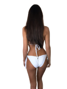 *LIMITED EDITION* WHITE PADDED CRYSTAL TRIANGLE TIE SIDE BIKINI