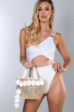Load image into Gallery viewer, LOLA WHITE ONE SHOULDER PANEL ELASTIC SWIMSUIT
