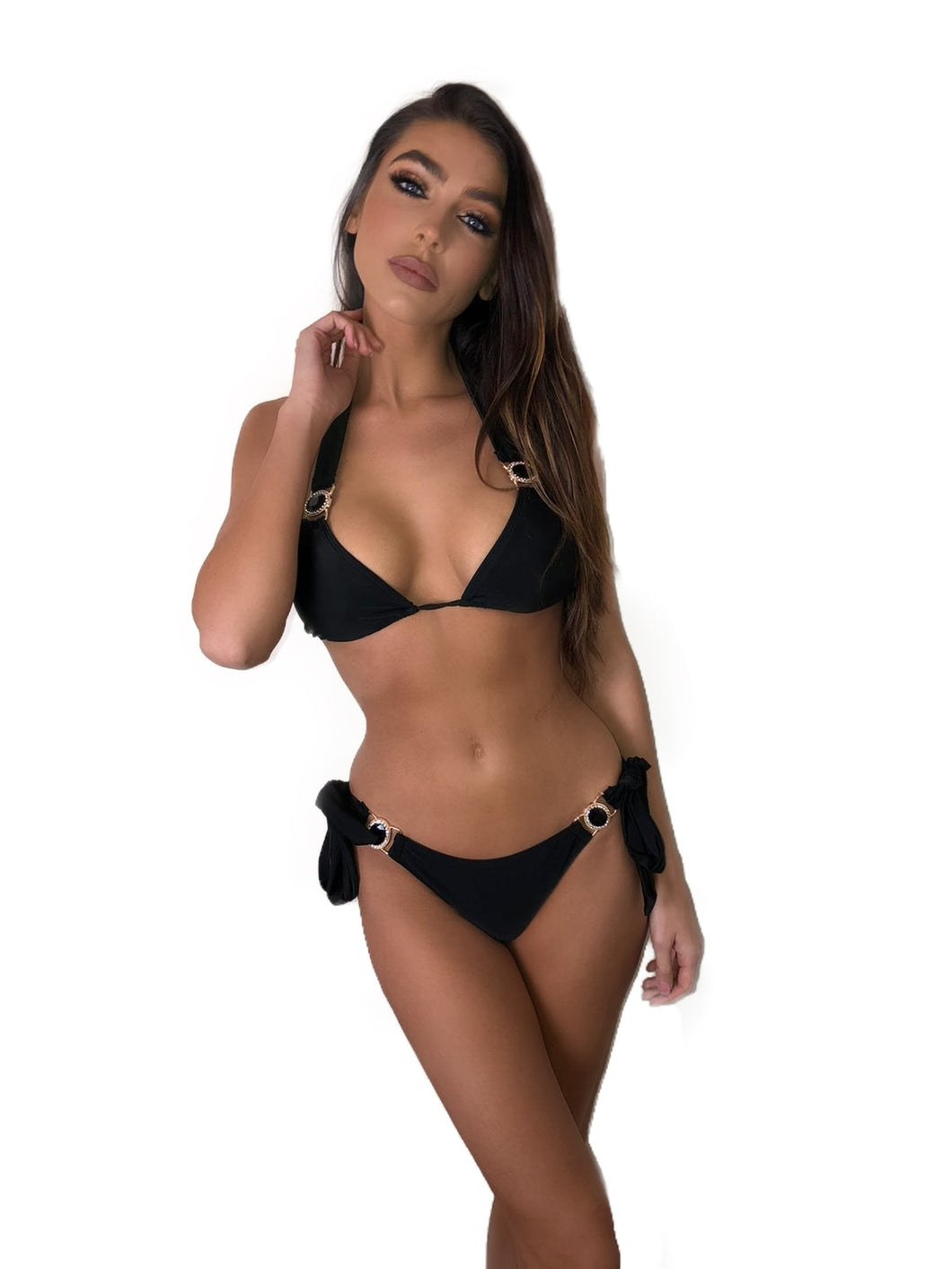 *LIMITED EDITION* BLACK PADDED CRYSTAL TRIANGLE TIE SIDE BIKINI