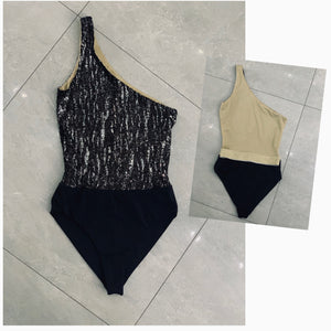 SAMPLES - BLACK RIBBED & LUREX  SILVER ONE SHOULDER BELTED SWIMSUIT