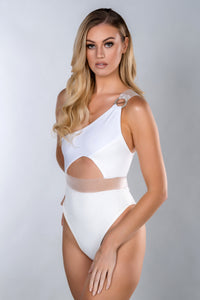 LOLA WHITE ONE SHOULDER PANEL ELASTIC SWIMSUIT