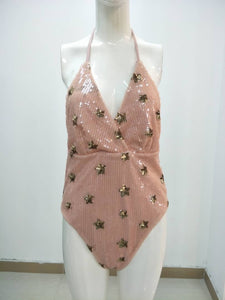 PEACH SEQUIN STAR HIGH BACK SWIMSUIT