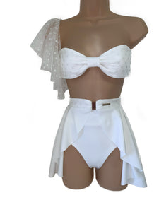 WHITE SPARKLE DOTTY 3 PIECE BANDEAU BIKINI