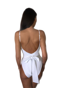 LUXE LYCRA JEWEL TIE WAIST SCOOP BACK SWIMSUIT - WHITE
