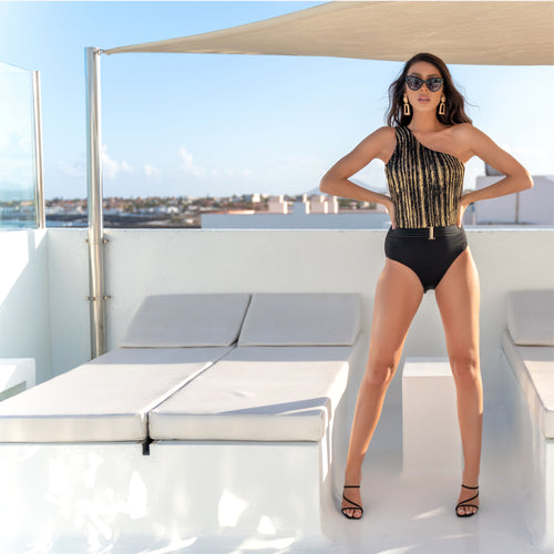 BLACK RIBBED & LUREX GOLD ONE SHOULDER BELTED SWIMSUIT (pre-order listing)