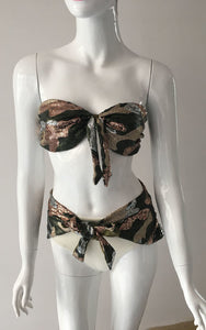 SAMPLES -SEQUIN CAMO 3PC BANDEAU BIKINI