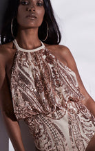 Load image into Gallery viewer, NUDE ROSE GOLD SEQUIN HALTER SWIMSUIT