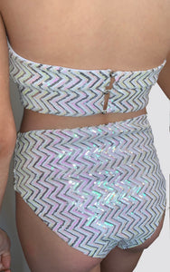 SAMPLES - WHITE HOLOGRAPHIC ZIGZAG HIGH WAIST 3PC BIKINI