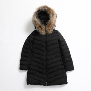 S06-02-F006 LONG DOWN COAT WITH FUR / Material: DUALFLEX