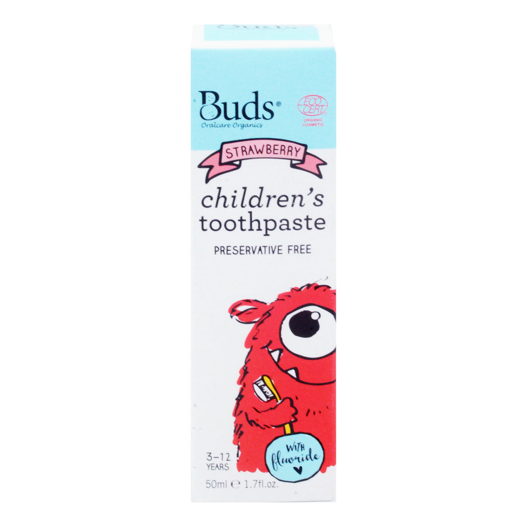 BUDS ORALCARE ORGANICS CHILDREN'S TOOTHPASTE WITH FLUORIDE 50ML - STRAWBERRY (TUBE)