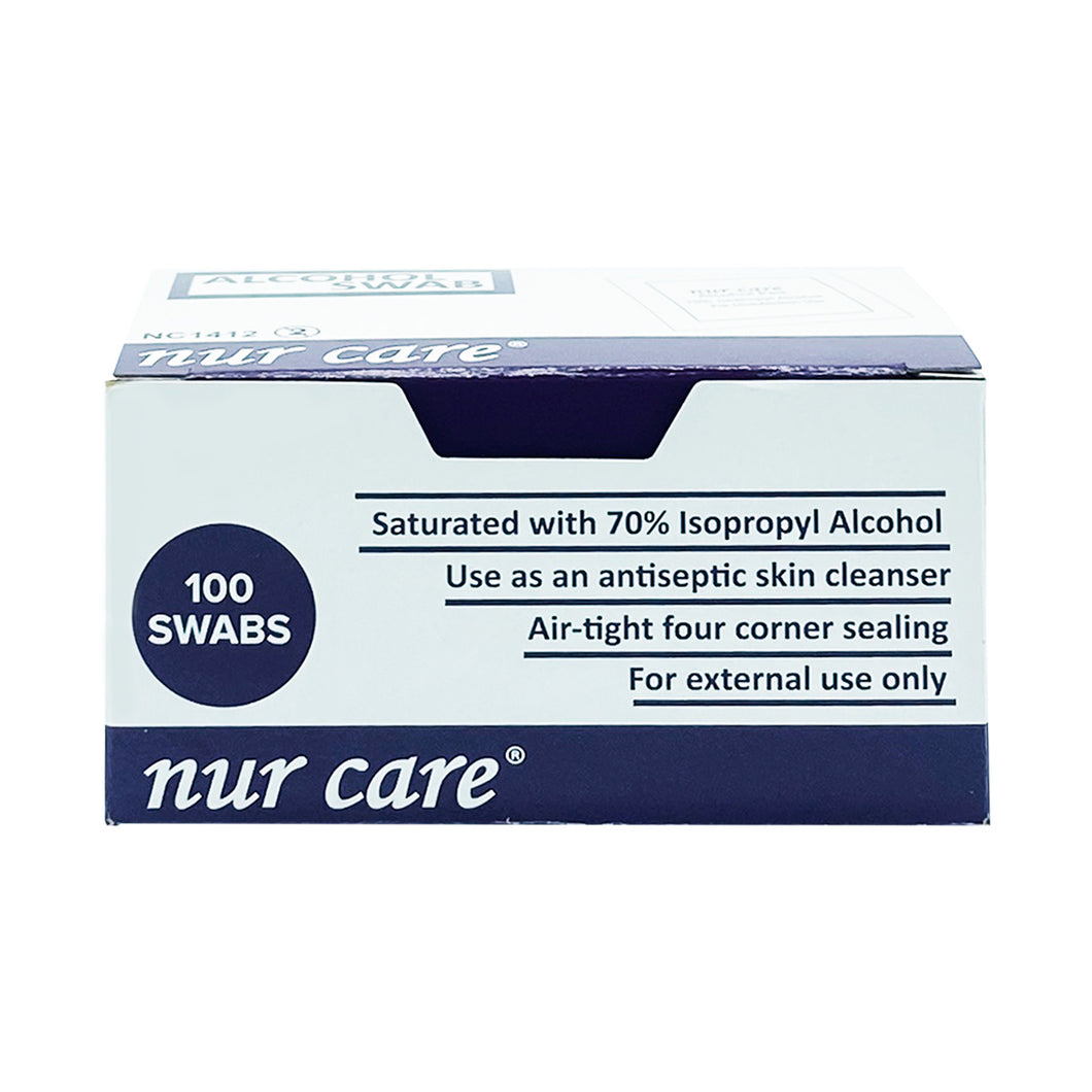 NUR CARE ALCOHOL SWABS (100S - BOX) - Wellings Online Store