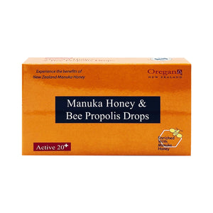 OREGAN ACTIVE 20+ MANUKA HONEY & BEE PROPOLIS DROPS (12 LOZ - BOX) - Wellings Online Store