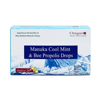 OREGAN ACTIVE 20+ MANUKA COOL MINT & BEE PROPOLIS DROPS (12 LOZ - BOX) - Wellings Online Store