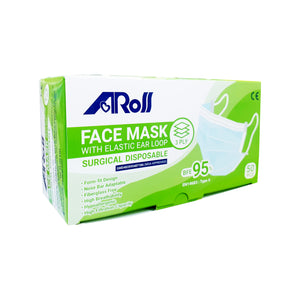 AROS 3 PLY SURGICAL DISPOSABLE FACE MASK - EARLOOP (50S - BOX)
